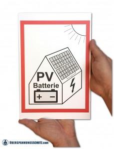 Warnschild PV Batteriespeicher 30x20
