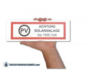 Warnschild PV 300x100 Feuerwehr 1000 Volt